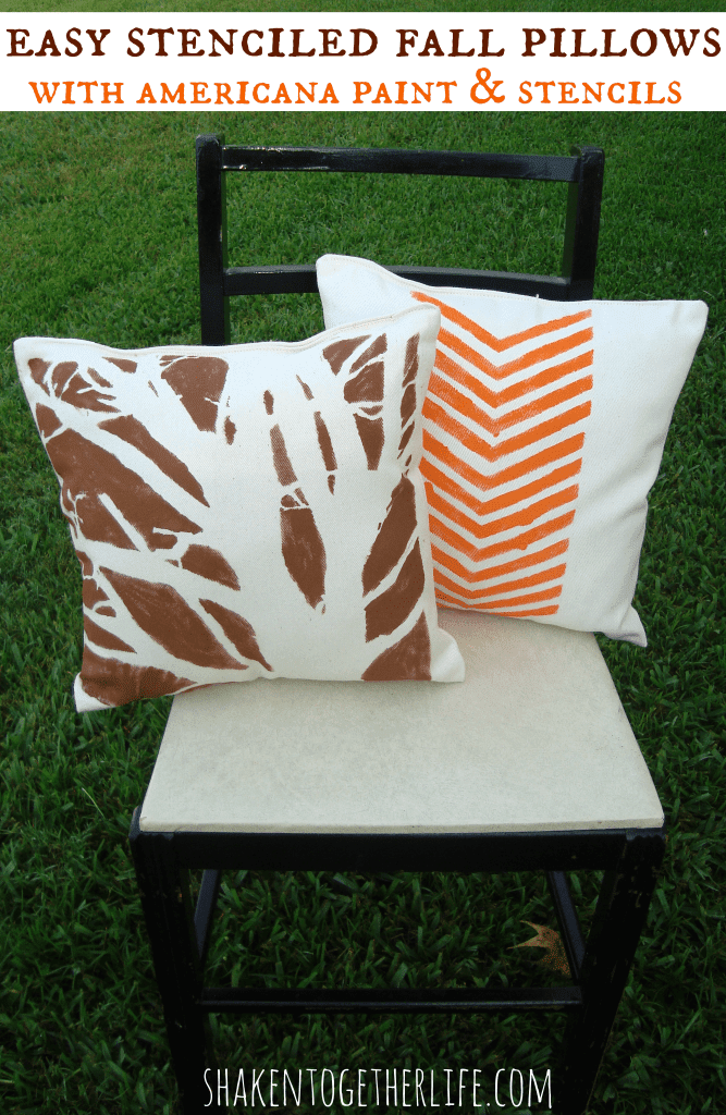 Easy stenciled Fall pillows with Americana paint & stencils at shakentogetherlife.com