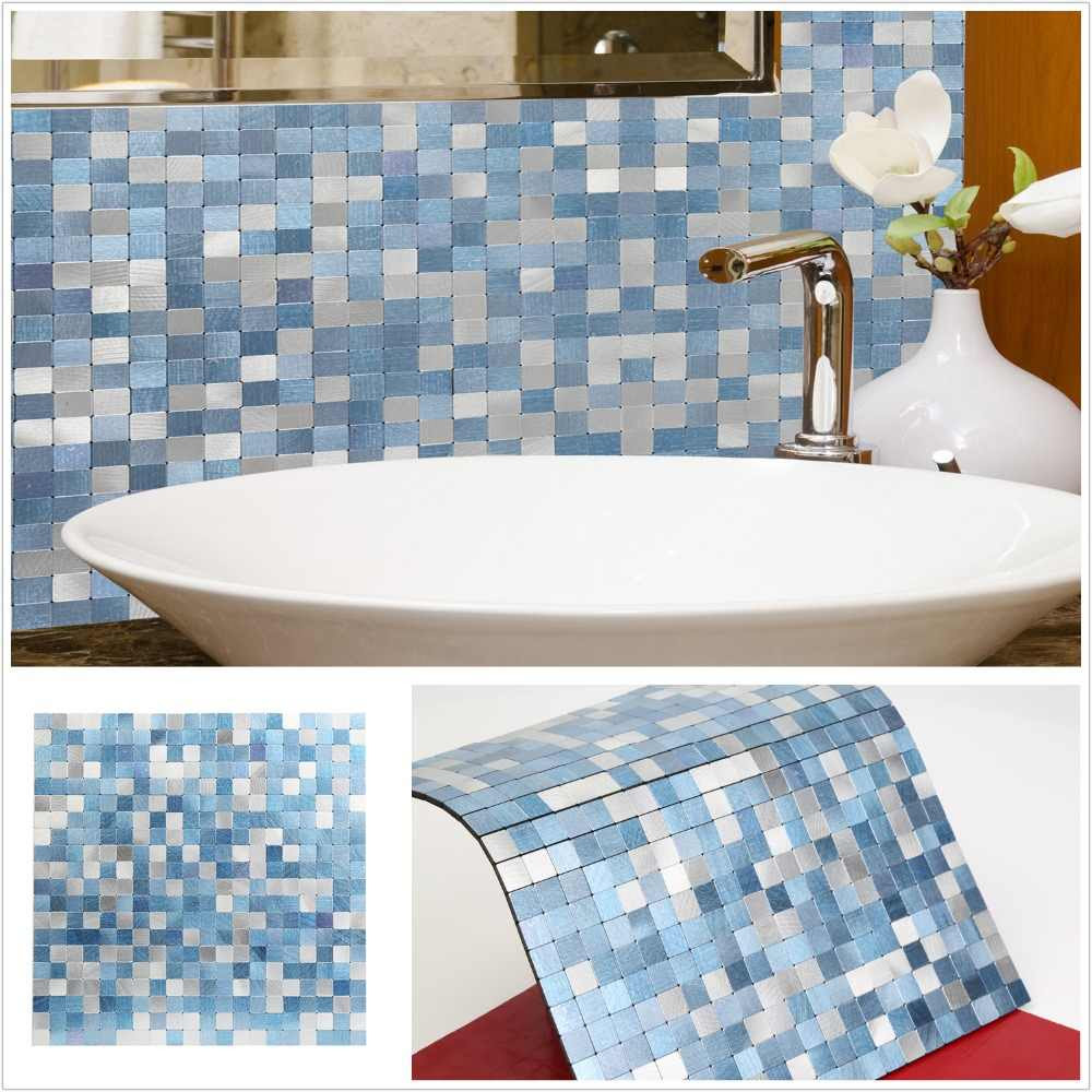 2019 Homey Mosaic New Design Sky Blue Peel And Stick Mosaic Wall Tiles 4 Sheets Insulation 3d Wall Panel For Kitchen Backsplash