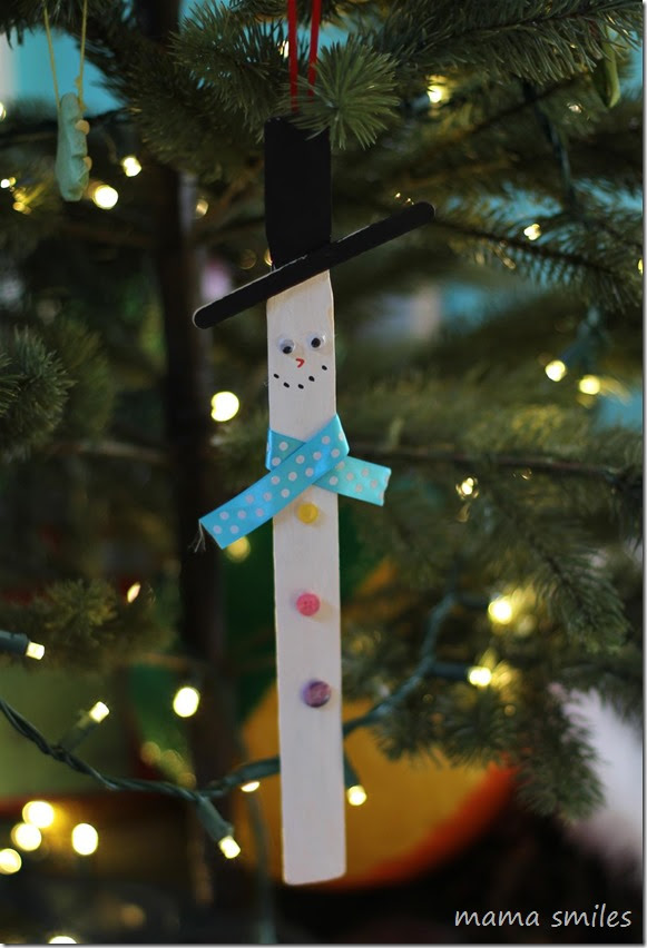 kid-made ornaments: paint mixer snow man