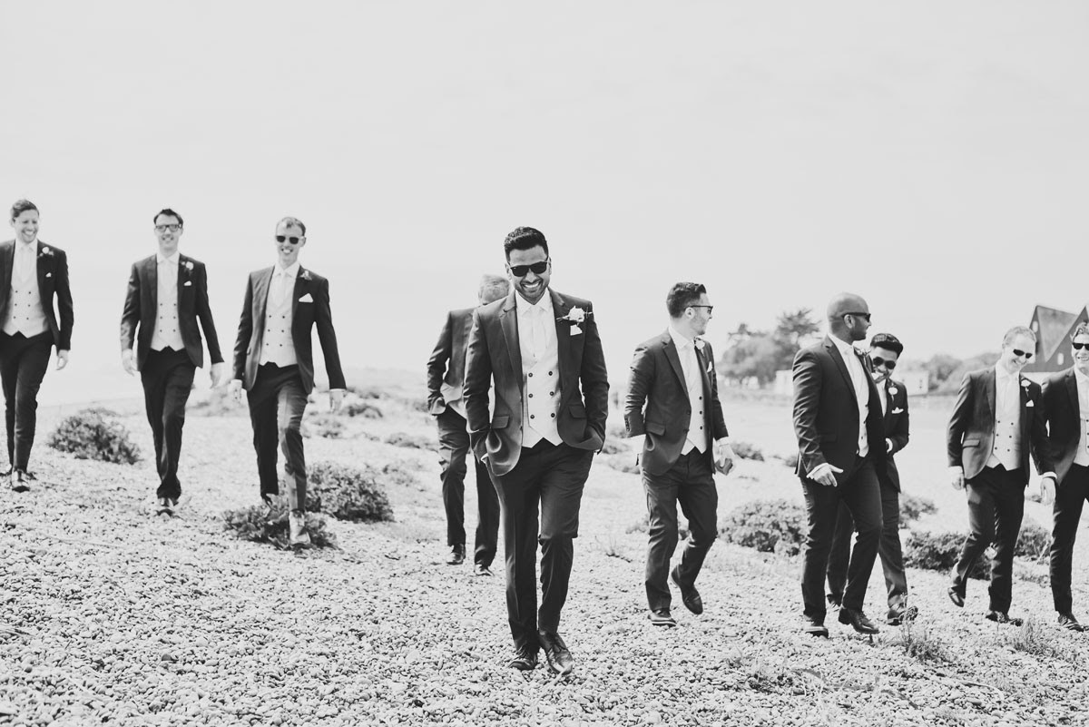Groom and Ushers at cool beach wedding in Suffolk, Thorpeness - helloromancephotography.com