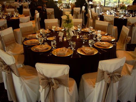 Beautiful Wedding Table Setting, Chair Covers & Bows   My