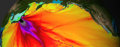 An energy map provided by NOAA shows the intensity of the tsunami caused by Japan's earthquake (Reuters/NOAA)
