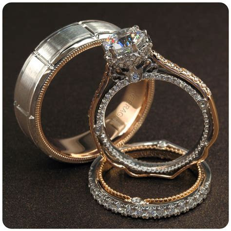 Verragio Bridal Trio with engagement ring and wedding