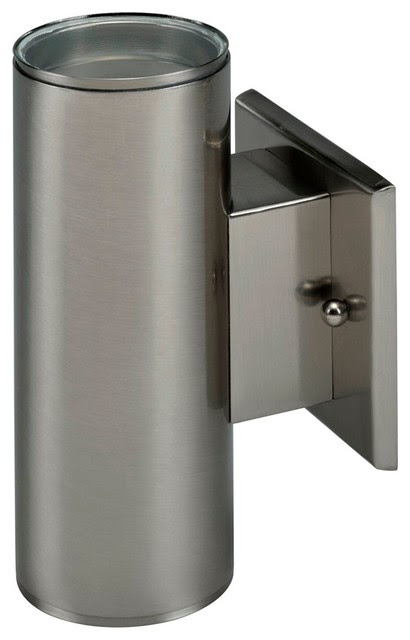 LED Outdoor Cylinder Wall Mount, Brushed Nickel, Up, Down ...