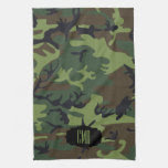 Monogram Green Camouflage Pattern Towels
