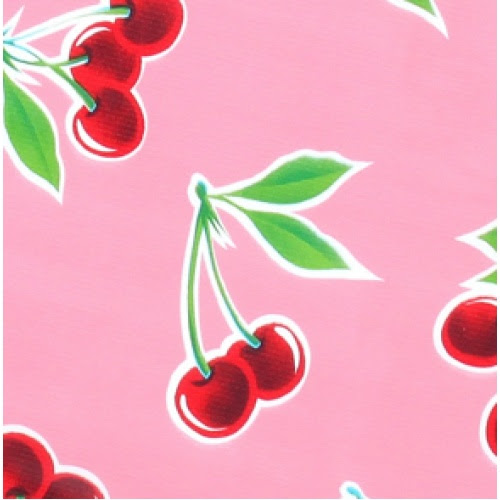 Mexican Oilcloth Fabric Laminated Cherries Pink