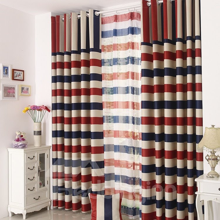 High Quality Elegant Beautiful Strips Pattern Gromment Top Custom Curtain