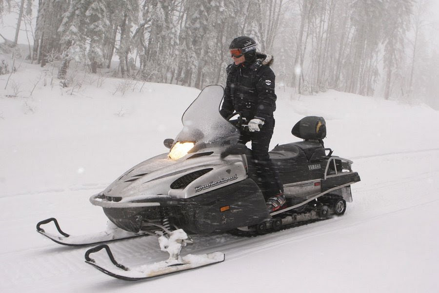 Vladimir Putin on a snowmobile in Krasnaya Polyana ski resort near Sochi, January 3, 2010.