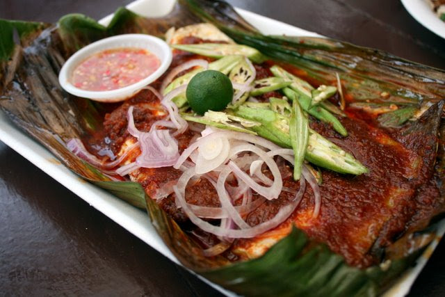 Sambal stingray, comes topped with sliced okra and onions