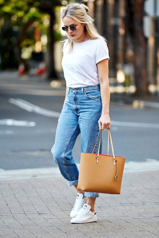 Le Fashion Blog Blogger Style Round Sunglasses Half Up Top Knot White Tee Shirt Vintage Boyfriend Denim Adidas Stan Smith Sneakers Brown Leather Tote Via Brooke Testoni