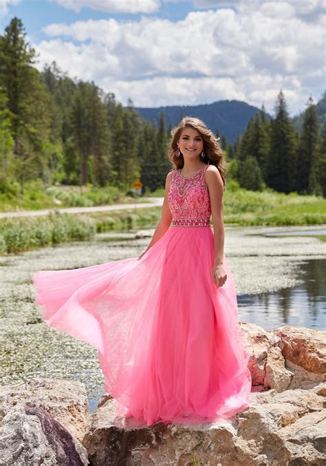 Soft Tulle Prom Dress with Beaded Bodice   Style 99042