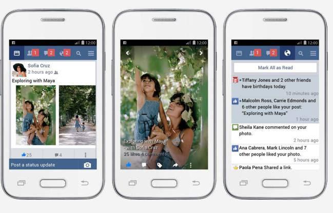 Interfaz de Facebook Lite, la app 'ahorra datos'