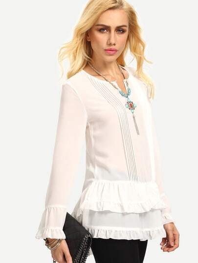 White Long Sleeve Ruffle Blouse pictures