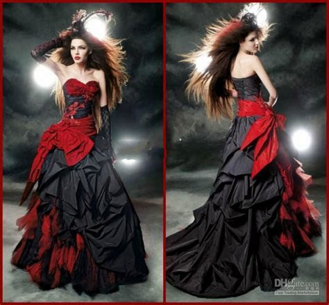Discount Black And Red Gothic Wedding Dresses 2015 Vintage