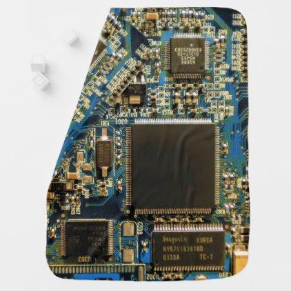 Computer Hard Drive Circuit Board blue Swaddle Blanket