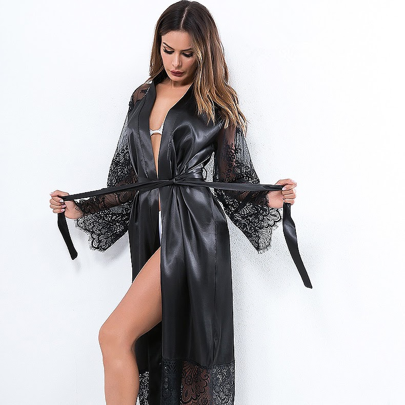 NEW  Fashion Sexy Pajama Dress Lingerie with Robe Long Sleeve Lace Nightgown with Belt Sleepwear Satin W