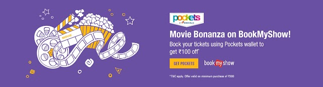 Pockets wallet Offer : Get ₹100 discount on movie ticket on Bookmyshow