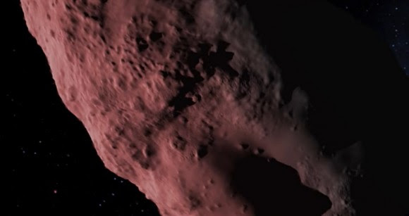 "Artist's conception of asteroid Bennu from the NASA film ""Bennu's Journey."" Credit: NASA/YouTube (screenshot)"