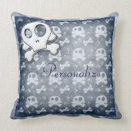Cute Skulls Personalized BlueThrow Pillow throwpillow