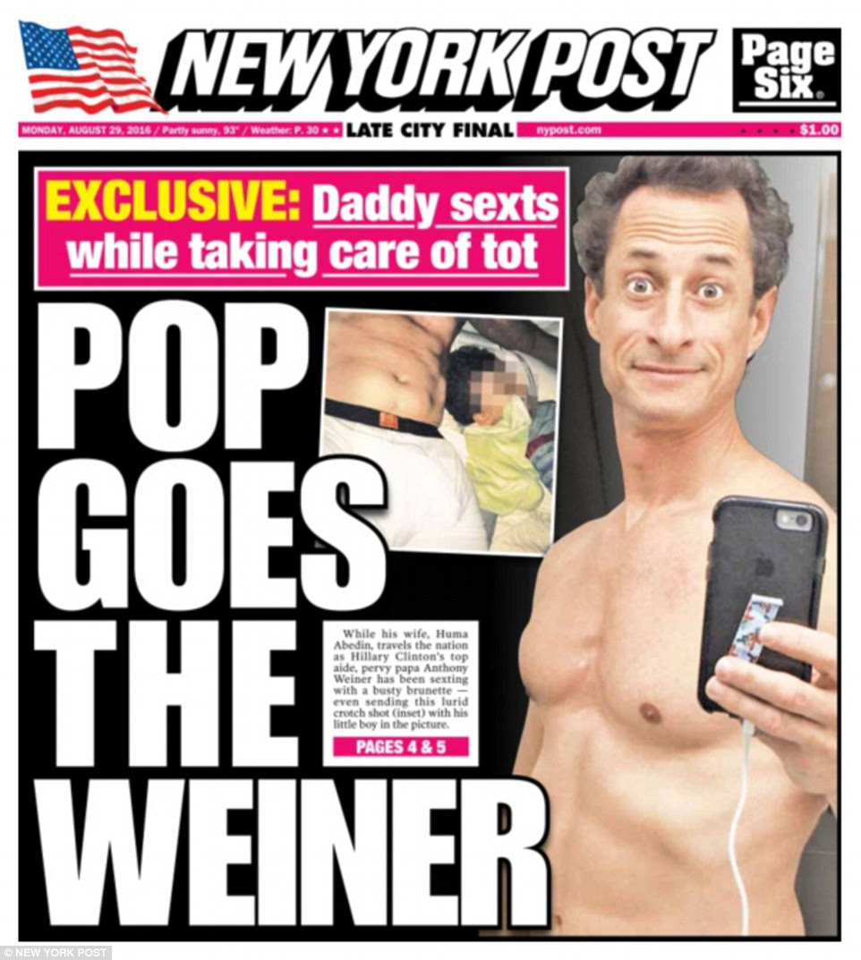 Poor taste: One of the photos Weiner, 51, sent to the unknown woman was a picture of his manhood in boxer briefs while his son lay asleep next to him in bed (inset on post cover)