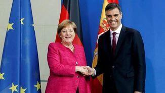 Primera trobada de Sánchez amb Merkel des que és president del govern espanyol (EFE)