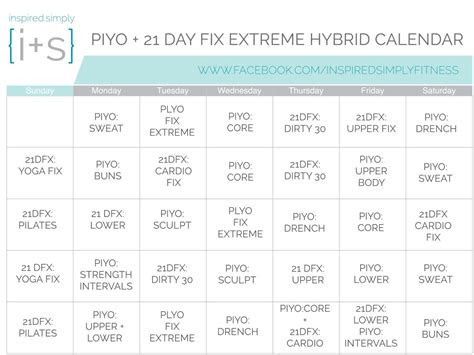 piyo   day fix extreme hybrid workout calendar