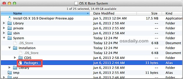 Delete OS X Mavericks Packages link