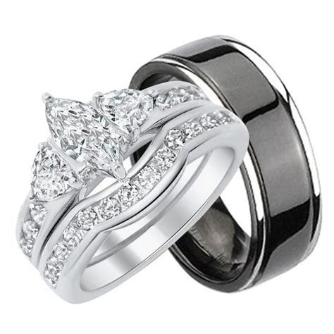 CZ Wedding Ring Sets, Engagement Rings, Matching His Her