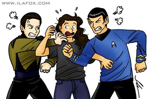 ilustração, ricbit separando briga entre com spock e data, star trek, by ila fox
