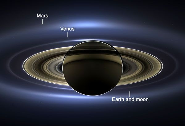 An annotated version of the Saturn image that was taken by NASA's Cassini spacecraft on July 19, 2013...with Venus, Earth, its Moon and Mars pinpointed in the photo.