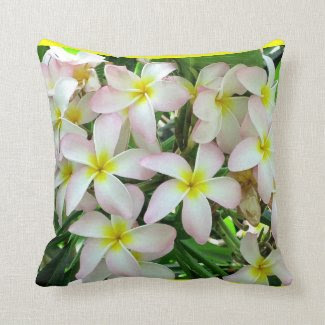 Reversible Yellow Plumeria Flowers Pillow