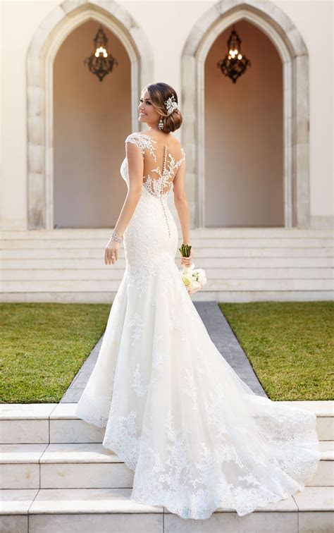 Tulle over organza fit and flare wedding dress   Stella