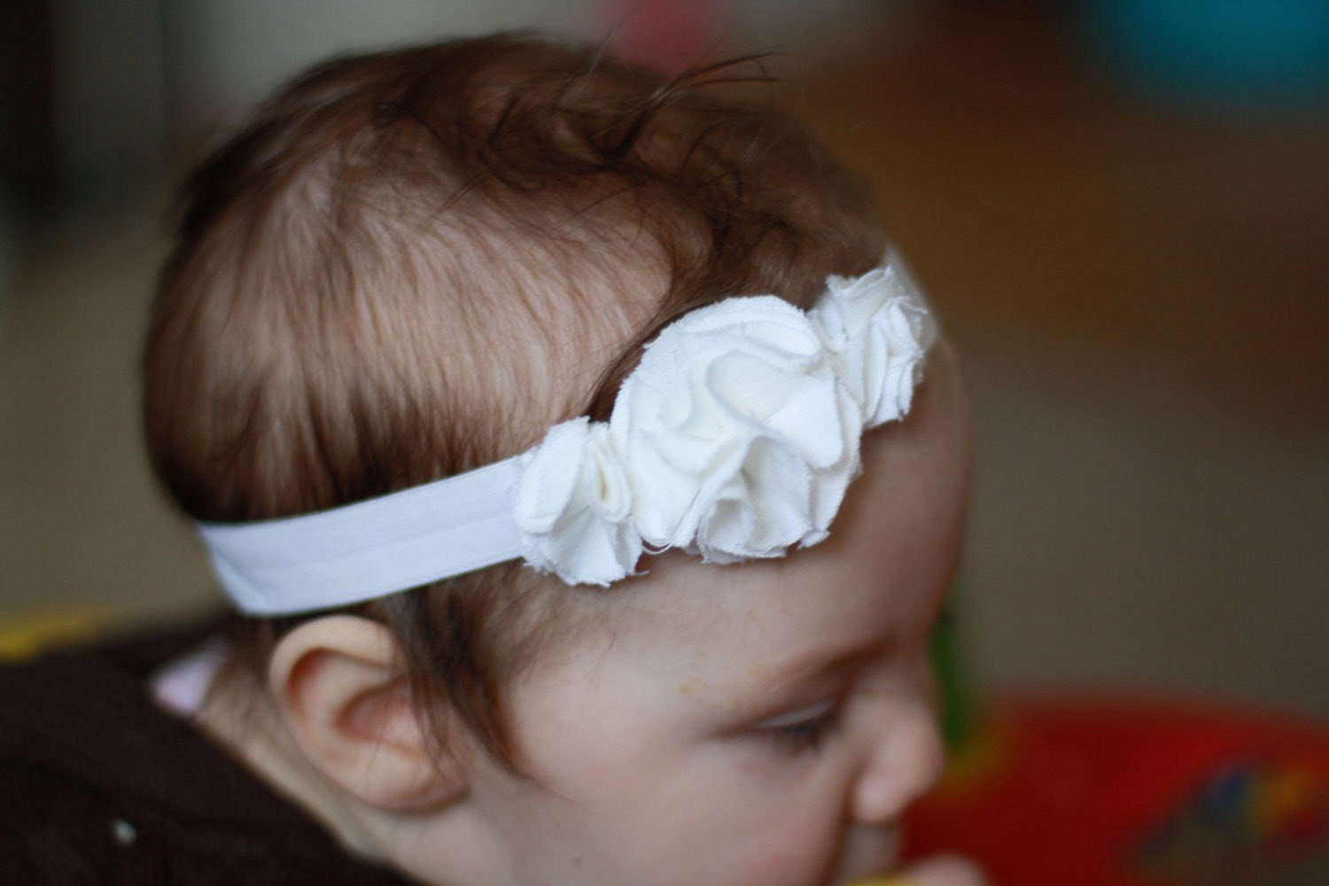 Snow White custom made frayed-edge flowers baby/toddler/child headband
