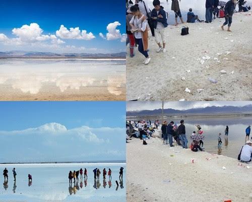 """被喻为""""中国版天空之镜""""的青海省茶卡盐湖景区,随处可见游客丢下的垃圾。(网络图片)"""
