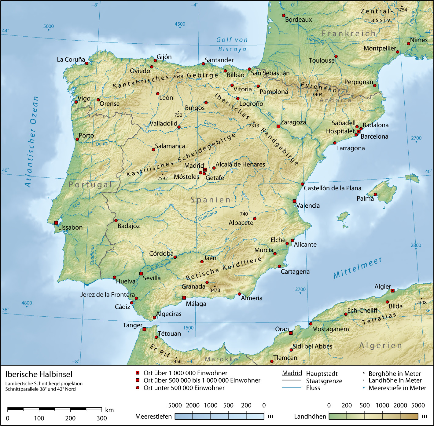 Iberian Peninsula Physical Map