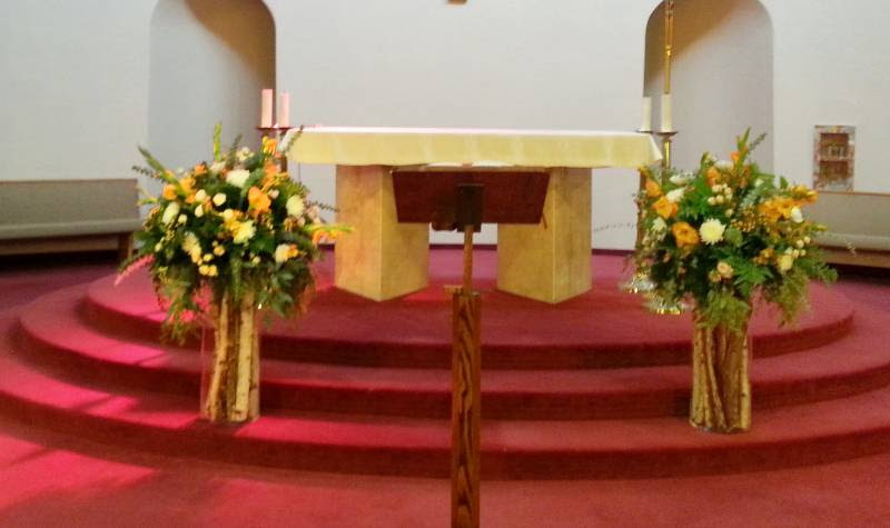 Church Ceremony Altar Flower Arrangements Dahlia Floral Design