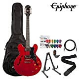 Epiphone Dot Cherry Finish Electric Guitar Kit - Includes: Gig Bag, Stand, Strap, Cable, Tuner and Pick Sampler