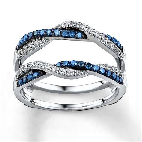 Blue/White Diamonds 1/2 ct tw Enhancer Ring 14K White Gold