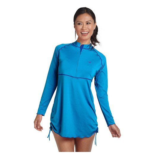 Coolibar UPF 50+ Women's Ruche Swim Shirt at Amazon Women's Clothing store