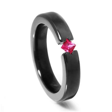 Black Zirconium & Ruby Ladies Ring   Black Promise Ring