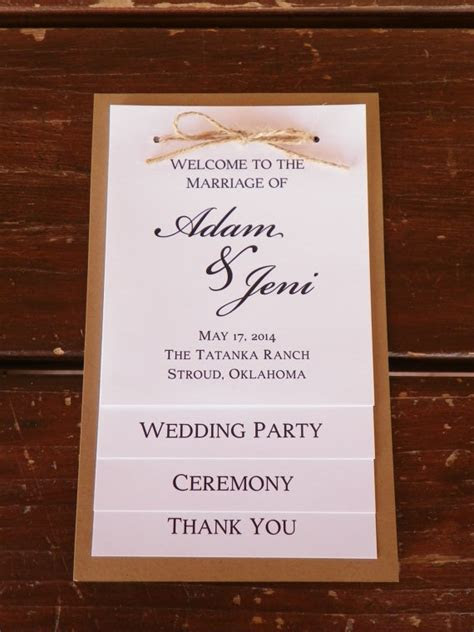 Wedding program, wedding party, thank you card, four