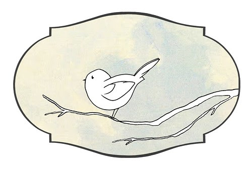 bird on a branch label baby blue sky CROP mel stampz