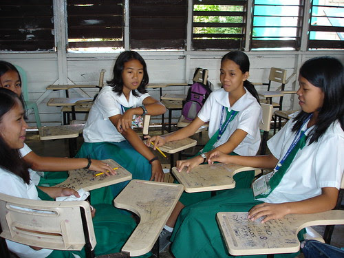 Girls at school in the Philippines