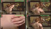 Isabel Medina a apalpar a mama em frente ao espelho na novela Filhos do Vento