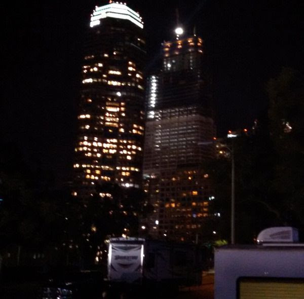 A photo of Los Angeles' Wilshire Grand Center that I took late at night on November 4, 2015.
