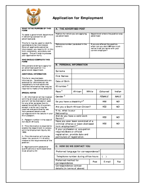 Dpsa Job Application Form Z83 Employment Application