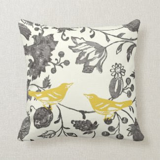 Trendy Yellow Gray Ivory Vintage Floral Bird Throw Pillows