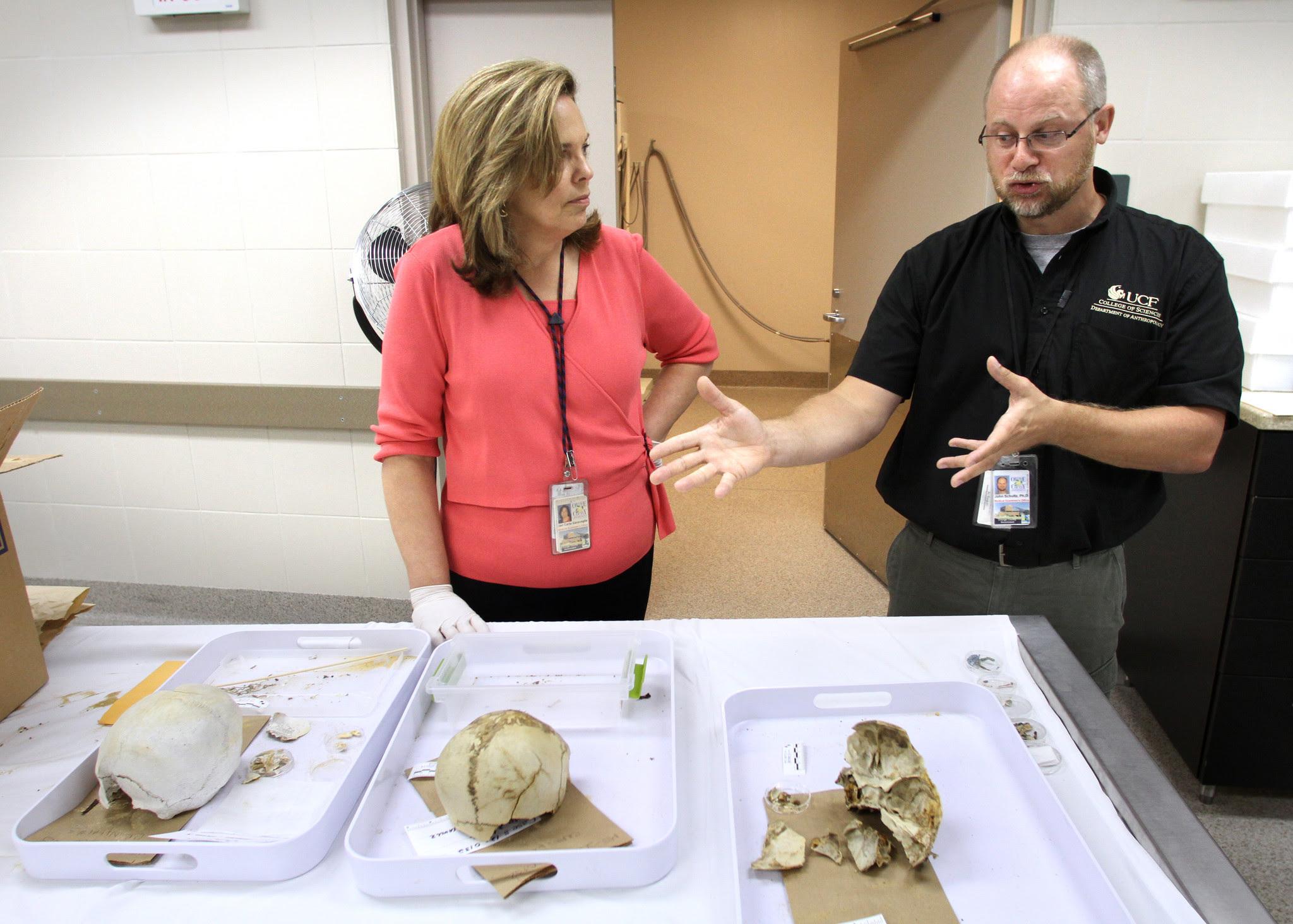 Dr Jan Garavaglia and Dr John Schultz discuss the two skulls