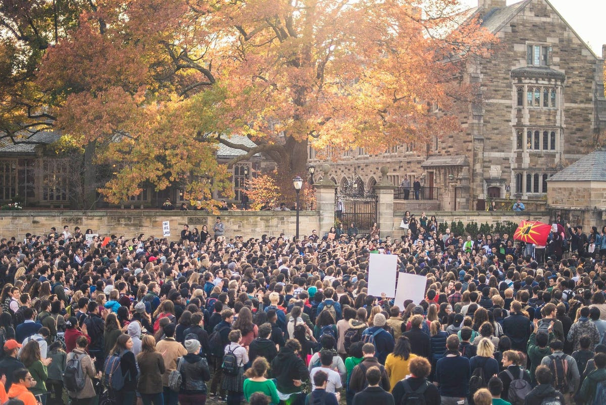 """""""I have friends who are not going to class, who are not doing their homework, who are losing sleep, who are skipping meals, and who are having breakdowns,"""" Jencey Paz wrote in an op-ed in The Yale Herald, explaining sentiment on campus."""
