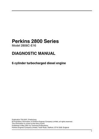 Perkins 2800 Series Model 2806C-E16 Diagonstic Manual by
